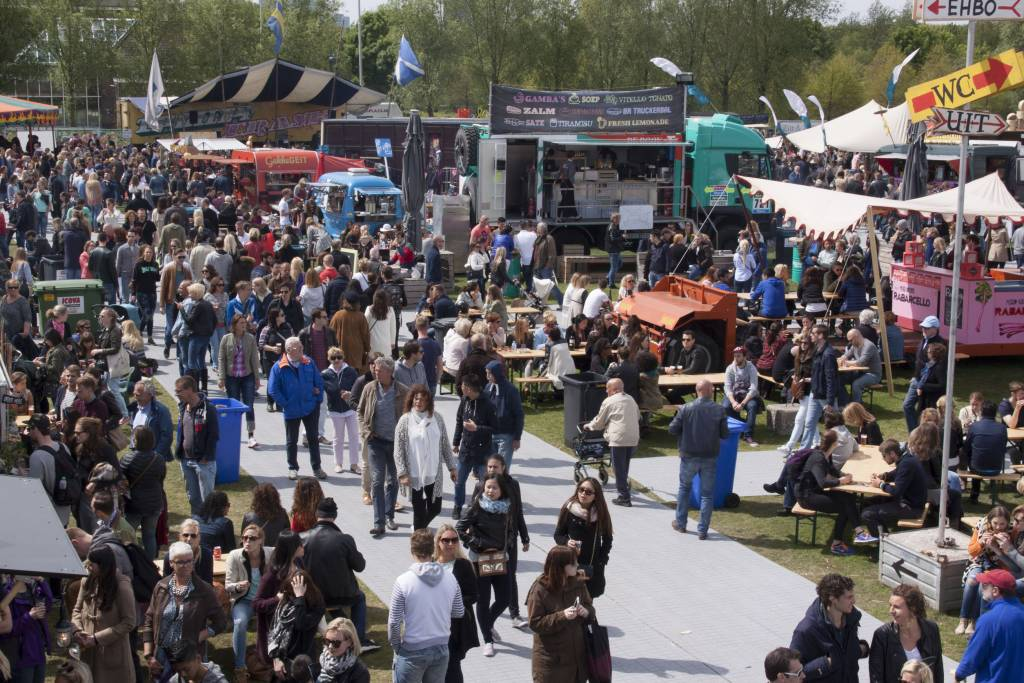 people at the food truck or rolling kitchen festival in Amsterdam
